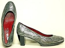 ARA Pumps size 7 M Leather Metallic Grey Snake Print Heels Shoes WF62