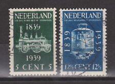 NVPH Netherlands Nederland 325 326 gest used 1939 100 jaar Spoorwegen Pays Bas