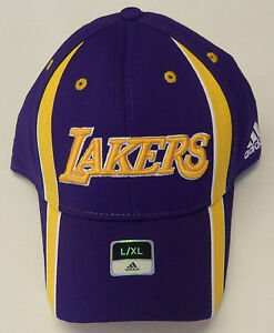 NBA Los Angeles Lakers Adidas Pro Shape Cap Hat Curve Brim L/XL NEW!