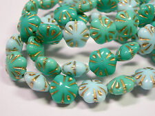 15 beads - Aqua Turquoise Czech Glass Flower Beads 10mm