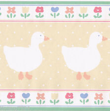 Vintage Country Pastel Color Boy Girl White Duck Baby Nursery Wall paper Border