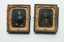 Old Vintage Antique Ambrotype Daguerreotype Photographs Portraits in Hinged Case