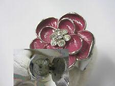 NOS! Working Vintage GG Branded Purple Flower Quartz Ring Watch Stainless Steel