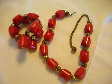 True Vintage Red Bakelite Set Choker Necklace & Memory Wire Bracelet aEB