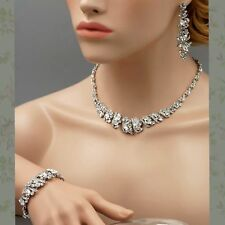 Rhodium Plated Crystal Necklace Earrings Bracelet Bridal Wedding Jewelry Set 501