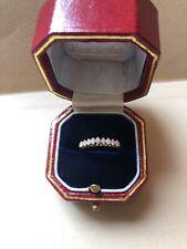 Vintage Diamond  9 Stone Half Eternity 14k Yellow Gold Band ring size L