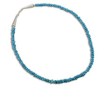 With .925 Sterling Silver Necklace Natural Light Blue Navajo Strand