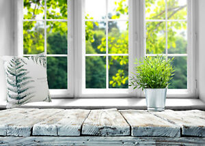 Spring Green Nature in Rustic Wood Window 7x5ft Backdrop Vinyl Photo Background