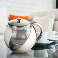 900ML Stainless Steel Glass TeaPot With Tea Leaf Strainer Filter Infuser US