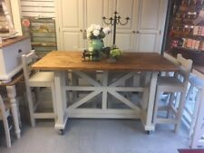 Lrg Unique Pine Kitchen Island Breakfast Bar & 4 Stools,Furniture Showroom Kent