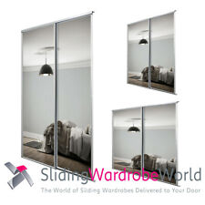 SpacePro Sliding Wardrobe Doors & Track - White Framed MIRROR - 3 Sizes