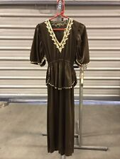 ex hire fancydress costumes - Long Brown Roman Lady Dress - Size Small