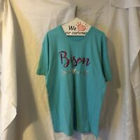 Womens Live And Tell Brand Bison Sparkly Tshirt Large