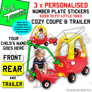 3x Personalised number plate stickers TO FIT Little Tikes Cozy Coupe car Trailer