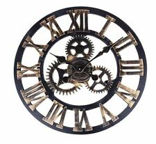 Vintage Steampunk Clock Wall Cogs Handmade Retro Industrial Gears Kitchen Lounge