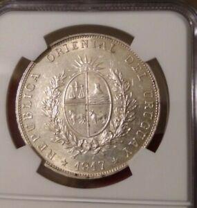 1917 uruguay peso ngc ms61 world silver crown, 8 reales, thaler, dollar