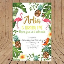 Personalised DIGITAL TROPICAL FLAMINGOS Kids Birthday PartyInvitations YOU PRINT