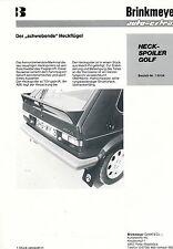 Prospekt Brinkmeyer Spoiler VW Golf 1 brochure Autoprospekt Auto PKW Deutschland