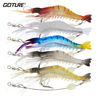 Lot Luminous Shrimp Soft Fishing Lure Silicone Prawn Bait with Hook Swivel Beads