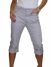 Ladies High Waist Capri 3/4 Length Stretch Jeans Chino Sheen 10-20