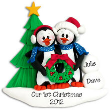 PENGUIN COUPLE Personalized Christmas Ornament Handmade Polymer Clay by Deb & Co