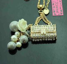 B533    Betsey Johnson Crystal Enamel Roses Beads Cute Handbag Pendant Necklaces