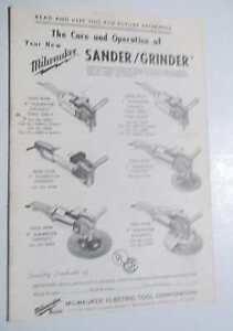 Milwaukee Sander/Grinder Care &  Operators Manual