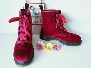 Dr Martens 5 eye large eyelet Grace red pink velvet boots 10155 UK 8 EU 42 US 10