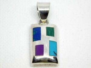 Silpada Sterling Silver Malachite Sugilite Azurite Turquoise Inlay Pendant 925