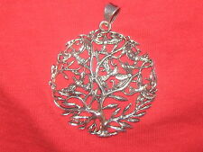 50MM SILVER CELTIC IRELAND IRISH LARGE TREE OF LIFE BIRD CHARM PENDANT NECKLACE