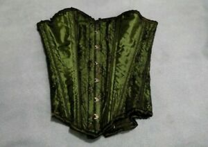 Full Steel Boned Neo-Victorian Goth Bustier: Gothic Green Corset, Lace, Beading