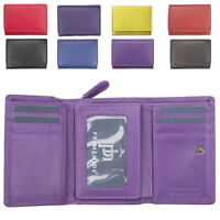 Ladies Super Soft Genuine Leather Tri-Fold Purse Coin Section Purple Red Plum