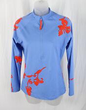 Tory Burch Women's Blue Orange Bracelet Sleeve 1/2 Zip Pullover Top Size L