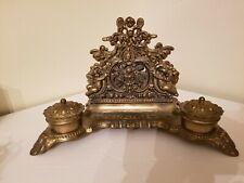 Antique Figural Brass Bronze Double Inkwell Stand Cherubim Angel Pen Holder