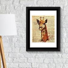 Wall Decoration Frames Giraffe Newspaper Animal Poster Art Office Home Décor
