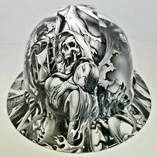 FULL BRIM Hard Hat custom hydro dipped in LUST AFTER DEATH , GRIM REAPER SICK