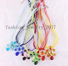 FREE Wholesale 6ps Animal Sea Turtle Flower Glass Lampwork Pendant Silk Necklace
