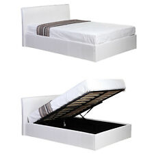 Siesta WHITE 4ft Small Double Faux Leather Bed Ottoman Gas Lift Up Storage Bed