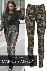 Womens Camouflage Skinny Stretch Ripped Jeans Ladies Camo Army Trouser Bottom