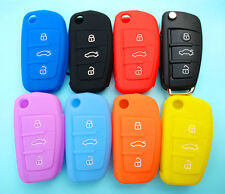 AUDI SILICONE CAR KEY COVER CASE PROTECTOR A2 A3 A4 A6 TT R8 FLIP KEY FOB