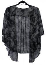 Womens Tie Dye Plus Size 3X Black, Charcoal Chiffon Cardigan Bolero WearOrGoBare
