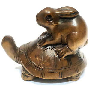 """Y7485 - Stunning 2"""" Hand Carved Boxwood Netsuke: Rabbit Taxi Turtle"""