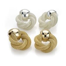Two Pairs Gold And Silver Colour Knot Design Stud Earring Set 3cm