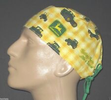 JOHN DEERE YELLOW CHECKED SCRUB HAT / FREE CUSTOM SIZING!