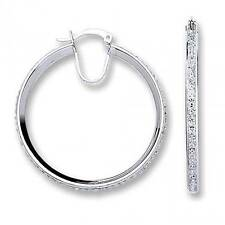 Sterling Silver 35mm Hoop Earrings Set With Crystal Stone Centre Weight 5.0g