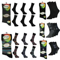 Mens Non Elastic Socks Diabetic Swollen Ankles Loose Soft Top Suit 3 Pairs Black