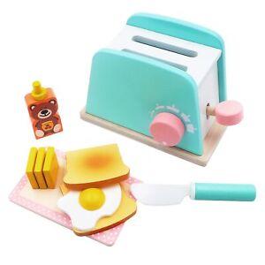 10 Pcs Wooden Kitchen Toy Pop-Up Toaster Set Play Kitchen Accessories Kids Gift