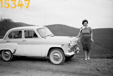 vintage negative! chubby woman posing w old russian car Moskvitch 407,  1960's H