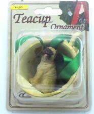 Pug Dog Christmas Ornament Teacup Holiday Pinecone Resin Figure Fawn Brown