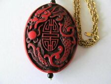 RED CARVED ASIAN CINNABAR [SHOU-LONGEVITY] LACQUER w/BLACK BEAD PENDANT NECKLACE